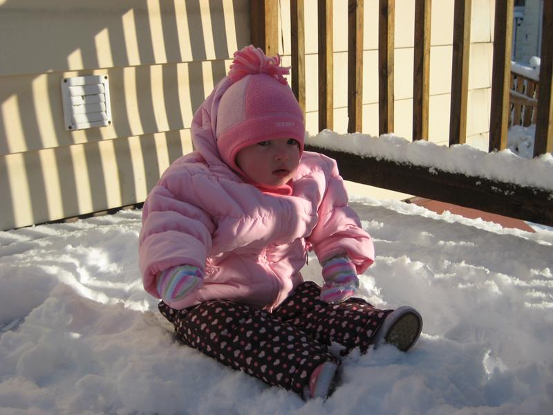 Abby test pilots snow suit...